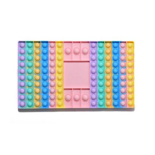 Brinquedo Pop Fidget Anti Stress Tabuleiro Colorido Com 2 Dados - ROSA CLARO