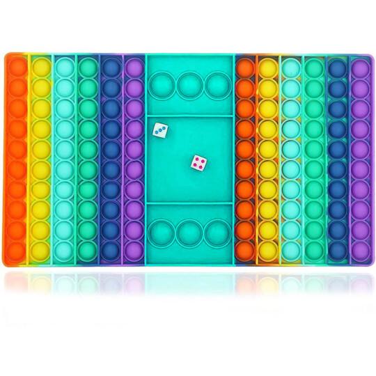 Brinquedo Pop Fidget Anti Stress Tabuleiro Colorido Com 2 Dados  - VERDE