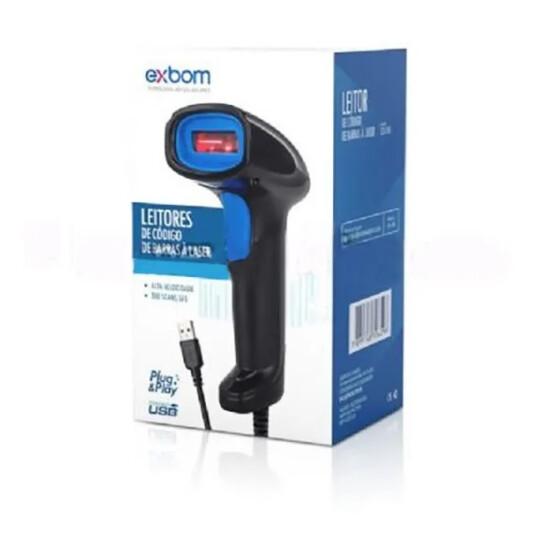 Leitor de Código de Barras Laser USB Com Fio Exbom - LCB-150