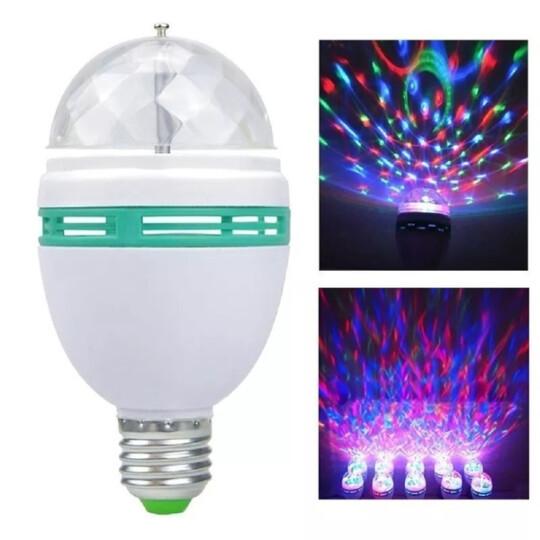 Lâmpada Giratória para Efeito Especiais de Luzes e Cores RGB 3w E27 - KA-1099