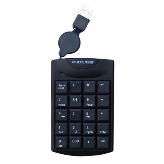 Teclado Numérico Multilaser com Cabo Retrátil USB Preto - TC230