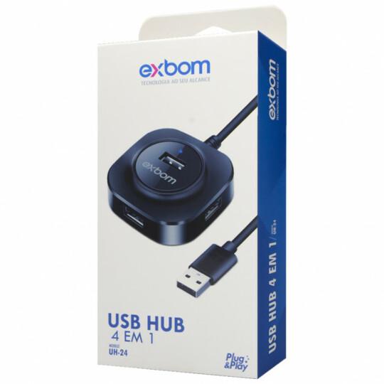 Hub Usb 2.0 com 4 Portas 480 Mbps com Entrada V8 Exbom - UH-24