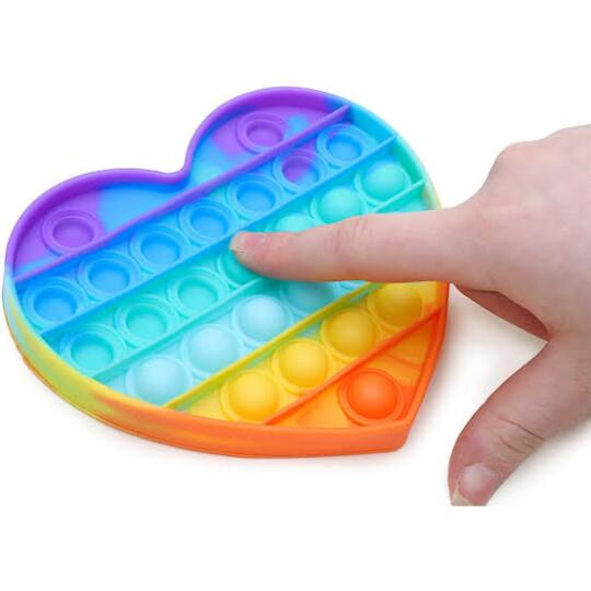 Brinquedo Pop It Anti Stress Bolha Colorido Formato Coração