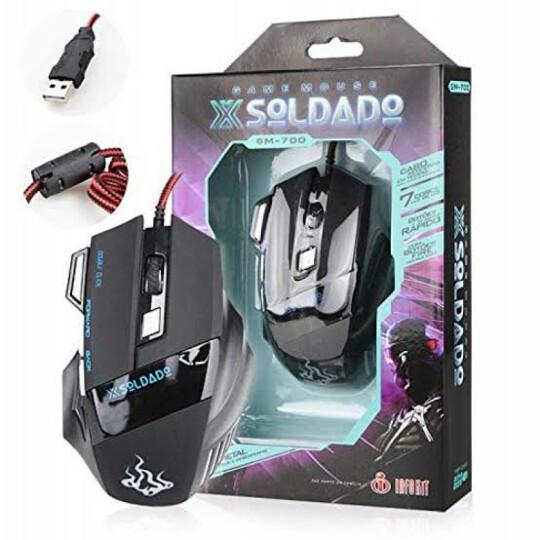 Mouse Optico Gamer Soldado 3000dpi USB Preto 7 Cores De Luz De Led Peso Metal EXBOM - Gm-700