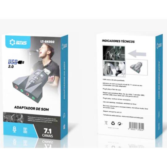 Adaptador Placa de Som Usb Duplo para Headset Fone e Microfone - LT-223 / LT-SK002