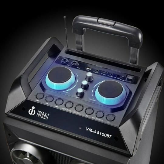 Caixa de Som Bluetooth Multiuso FM Usb Sd Até 150w Com Rodas - VM-A8100