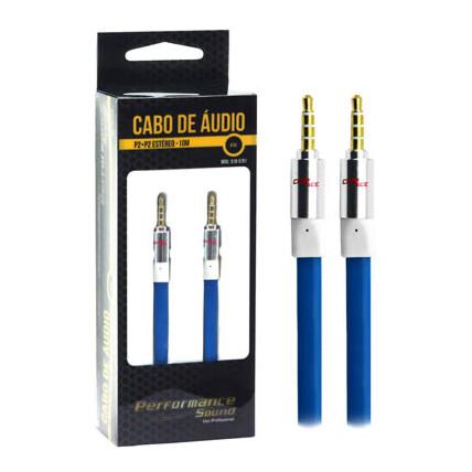 Cabo Auxiliar P2+P2 Premium Estéreo Flat Azul - 10 Metros Chipsce - 018-5781