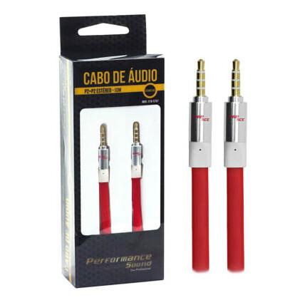 Cabo Auxiliar P2+P2 Premium Estéreo Flat Vermelho - 10 Metros Chipsce - 018-5797