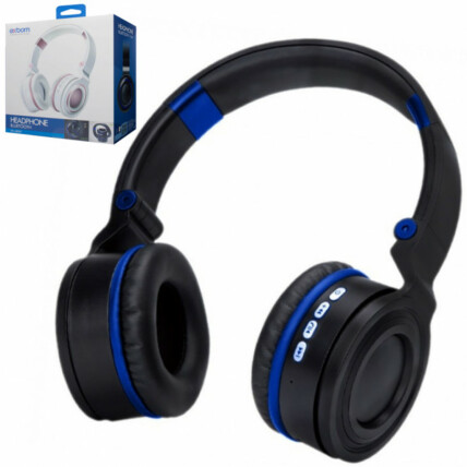Headphone Wireless Bluetooth Preto Com Azul Exbom - Hf-480bt