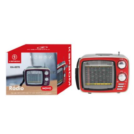 Caixa de som Retro Bluetooth Rádio Portátil FM / Usb / TF / Aux - KA-8078