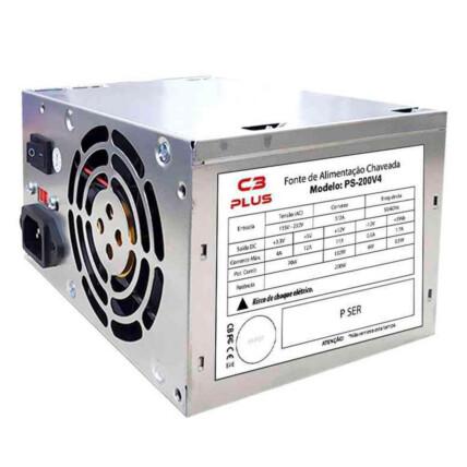 Fonte ATX 200w C3Tech Bivolt Manual Sem Cabo OEM - PS-200V4