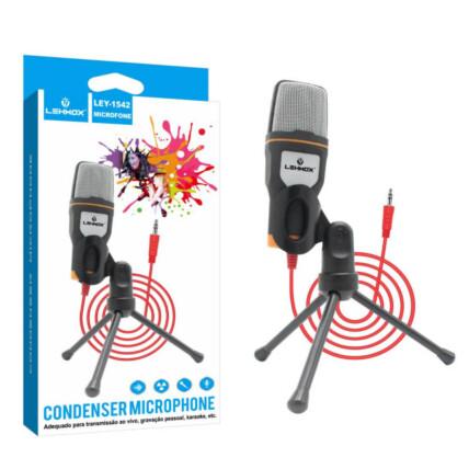 Microfone Condensador Com Tripé de Mesa para Gravação - LEY-1542