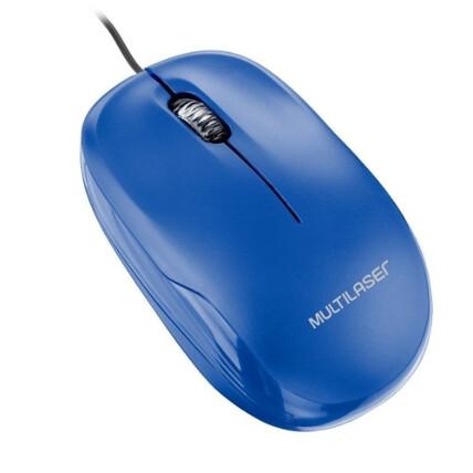 Mouse Óptico com Fio Usb Azul Multilaser - MO293