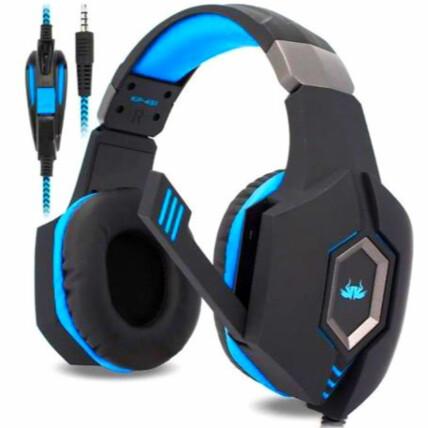 Fone De Ouvido Headset Gamer P2 3.5mm Preto E Azul KNUP - KP-451
