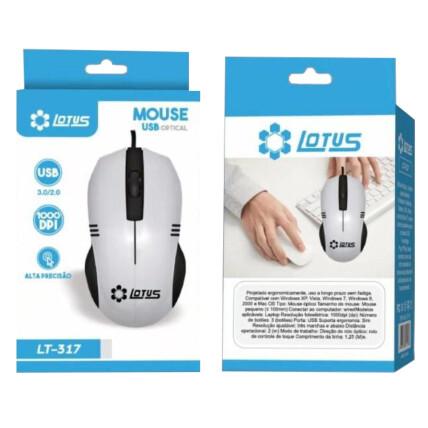 Mouse Óptico USB Com Fio 1000 DPI Alta Precisão Lotus - LT-317