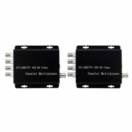 Multiplexador CFTV 4 Canais de Vídeo em Coaxial AHD Transmissor e Receptor Exbom - 02965