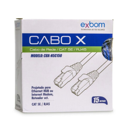 Cabo de Rede Rj45 Cat5e Azul 15 Metros EXBOM - CBX-N5C150