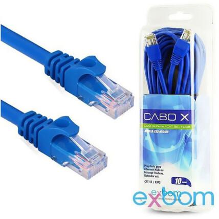 Cabo de Rede 10 Metros Rj45 Cat5 e Azul no Blister EXBOM - CBX-N5C100