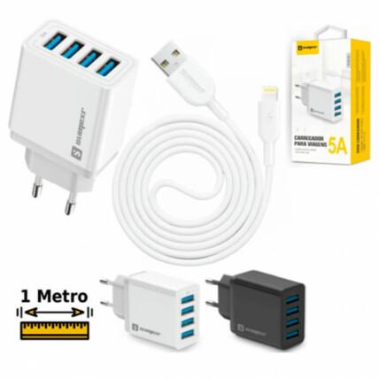 Carregador Turbo 5.0A com 4 Entradas USB e Cabo para iOS SUMEXR - SX-F8-I6