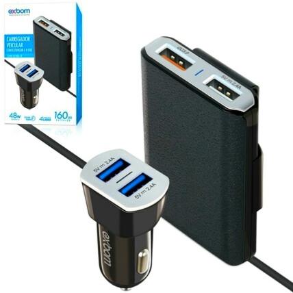 Carregador Veicular 4 Portas Com Extensor 2 Portas USB QC3.0 48W - EXBOM - CA4U-EX48A10