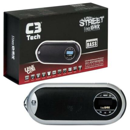 Caixa de Som Speaker 2.0 Portátil Com LCD/FM/MSD/BAT C3tech - ST-180 PRATA
