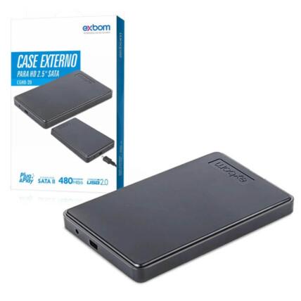 Case Externa para HD 2.5 Sata Usb 2.0 Bussines Preto Gaveta HD Exbom - CGHD-20
