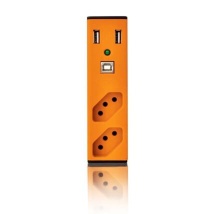 Filtro de Linha com Carregador USB 2,1A Bem Ligado - Laranja com Cabo Usb