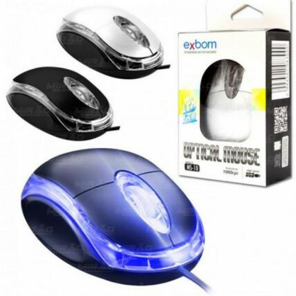 Mouse Optico USB 1000DPI LED Azul Exbom - MS-10