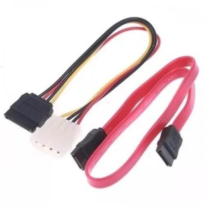Kit 10 Unidades Cabo Sata Dados + Energia Para HD / SSD / Gravador - C3TECH