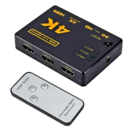 Switch 4k HDMI 3 Entradas / 1 Saída Com Controle Remoto Exbom - 02833