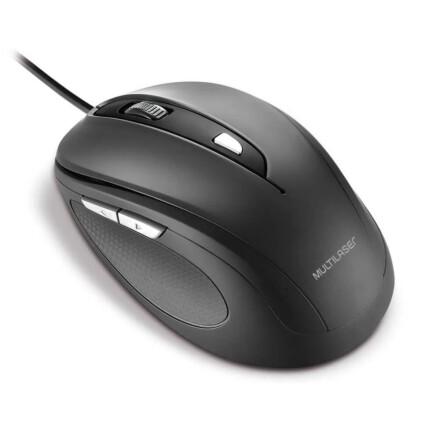 Mouse com Fio Usb Comfort 6 Botões Preto Multilaser - MO241