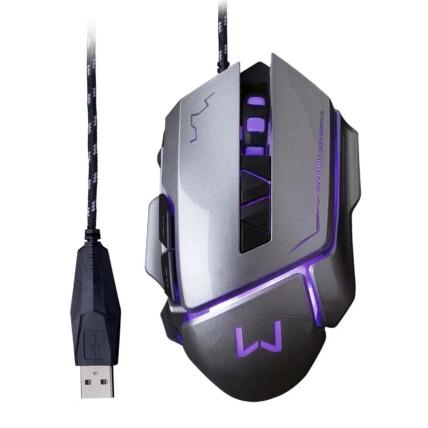 Mouse Gamer Usb Led Warrior Ivor 3200 dpi com 7 Botões - Grafite Multilaser - MO262
