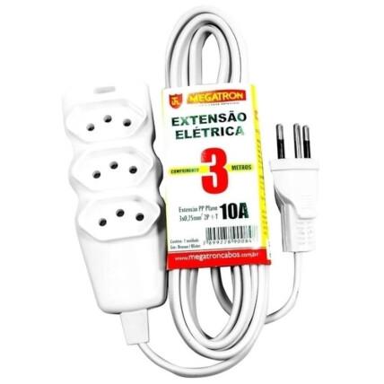 Extensão Elétrica 2P+T 3 Tomadas Bivolt 10A 3 Metros - Branca Megatron - 84