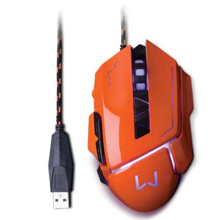 Mouse Gamer Usb Led Warrior Ivor 3200 dpi com 7 Botões - Laranja Multilaser - MO263