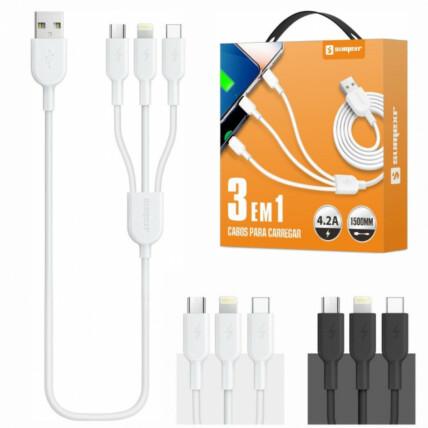 Cabo USB 3 em 1 Para Type C V8 e IOS Com 1.5 Metros Sumexr- SX-B35