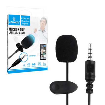 Microfone de Lapela P2 3.5mm com 1,5 Metros Lehmox - LEY-205