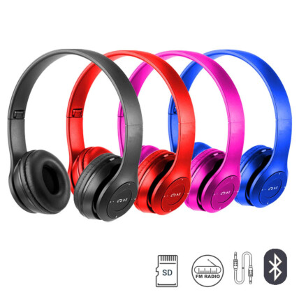 Fone de ouvido Headset Bluetooth Dobrável com Entrada P2  - LEF-1003
