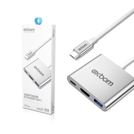 Adaptador Vídeo Tipo-C para HD 3 em 1 PD/HDMI/USB 3.0 03778 - U3V-A3N1