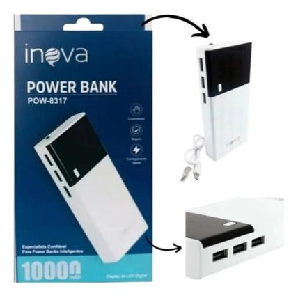 POWER BANK PORTÁTIL 10000MAH COM VISOR DE LED E 3 ENTRADAS USB INOVA - POW-8317