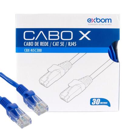 Cabo de Rede Rj45 Cat5e Azul 30 metros EXBOM 02816 - CBX-N5C300