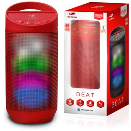 Caixa de Som C3Tech Beat Bluetooth LED Portátil 8w RMS Vermelho - SP-B50RD