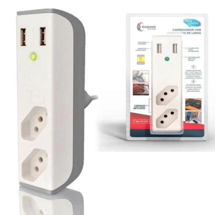 Filtro de Linha com Carregador USB C3TECH USB 2,1A + Filtro Bem Ligado Branco - FL-USB21GWH