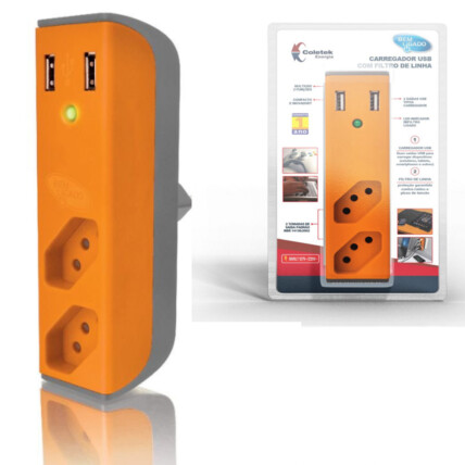 Filtro de Linha com Carregador USB 2,1A Bem Ligado - LARANJA
