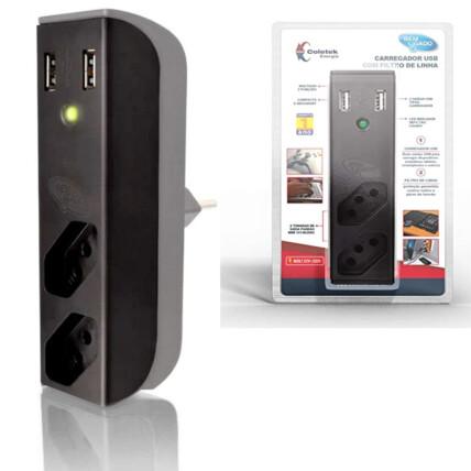 Filtro de Linha com Carregador USB C3TECH USB 2,1A + Filtro Bem Ligado Preto - FL-USB21GBK
