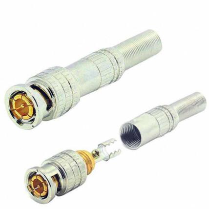 Conector Bnc de Compressão Com Mola e Pino Dourado Exbom - 00930