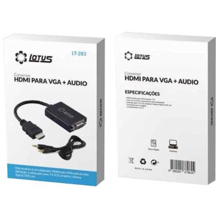 Adaptador HDMI para VGA + Áudio 3.5mm LOTUS - LT-283