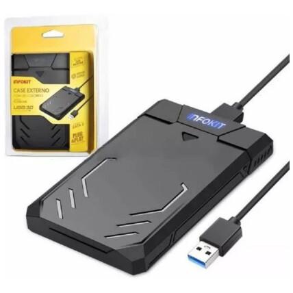Case para HD 2.5 Sata II USB 3.0 Fast 5Gbps Apoio Uasp 3TB Gamer Infokit - ECASE-340