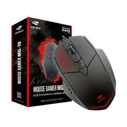 Mouse Gamer C3Tech Usb Led 2400 dpi Preto - MG-10BK