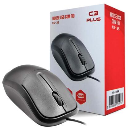 Mouse Óptico C3Tech com Fio Usb 1000 dpi Preto - MS-35BK