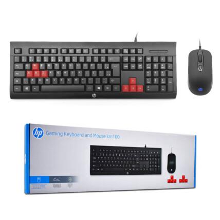 Kit Teclado + Mouse Gamer HP Usb Membrana Preto - KM100